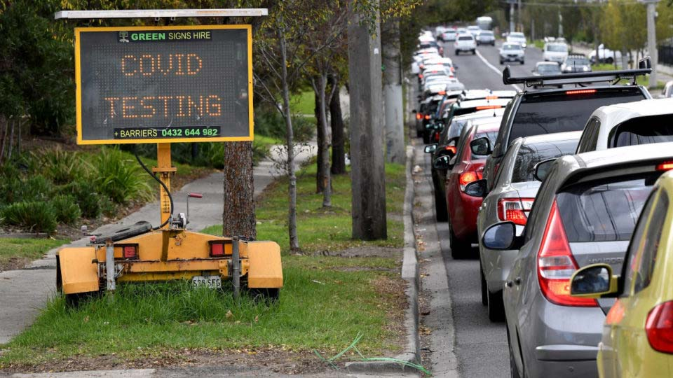 There have been long queues at COVID testing centres across Melbourne this week. Photo: Getty