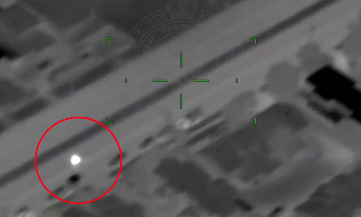 A motorcycle pursuit has been captured from above by the NSW police helicopter. (NSW Police Force)