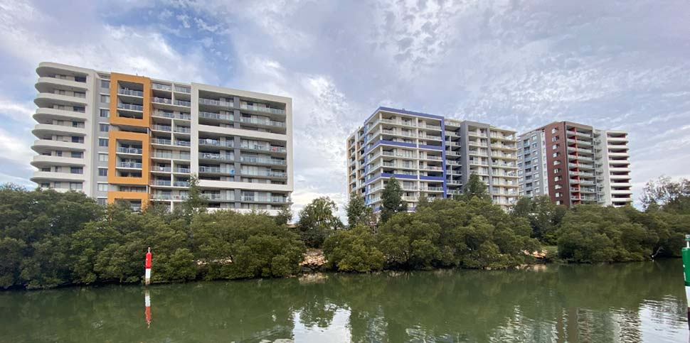 Toplace's Riviera apartments along the Parramatta River were completed in 2018.(ABC News Josh Bavas)