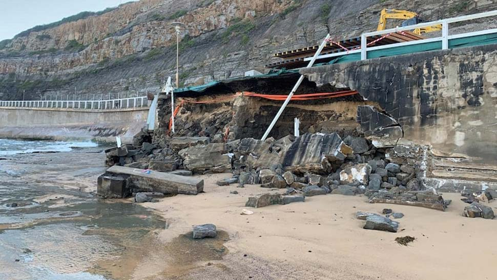 Rough surf has brought down a section of the old seawall at South Newcastle Beach. Picture: Supplied ABC/Madeline LewisSource:News Corp Australia
