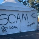 A-pop-up-COVID-19-testing-site-in-Sydney's-south-has-been-targeted-by-vandals,-calling-the-pandemic-a-government-scam.-(Facebook–Diedree-Steinwell)