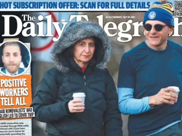 NSW Premier Gladys Berejiklian on the front page of The Daily Telegraph.SourceThe Daily Telegraph