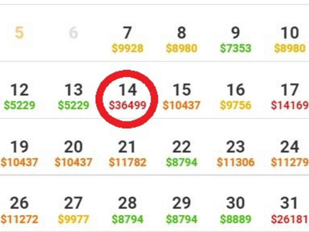 Some of the expensive prices of flights back in to Sydney from London throughout July.Source.nesw.com.au