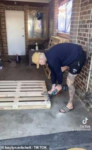 Daniel built the home pub bar using products from Facebook marketplace and Bunnings Warehouse