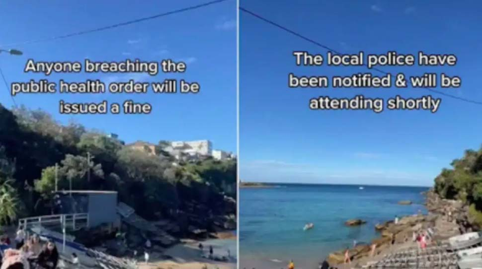 Footage of a police helicopter warning beachgoers in Sydney's eastern suburbs about Covid-19 breaches has sparked a debate about cops being too lenient. Picture TikTokSourceSupplied