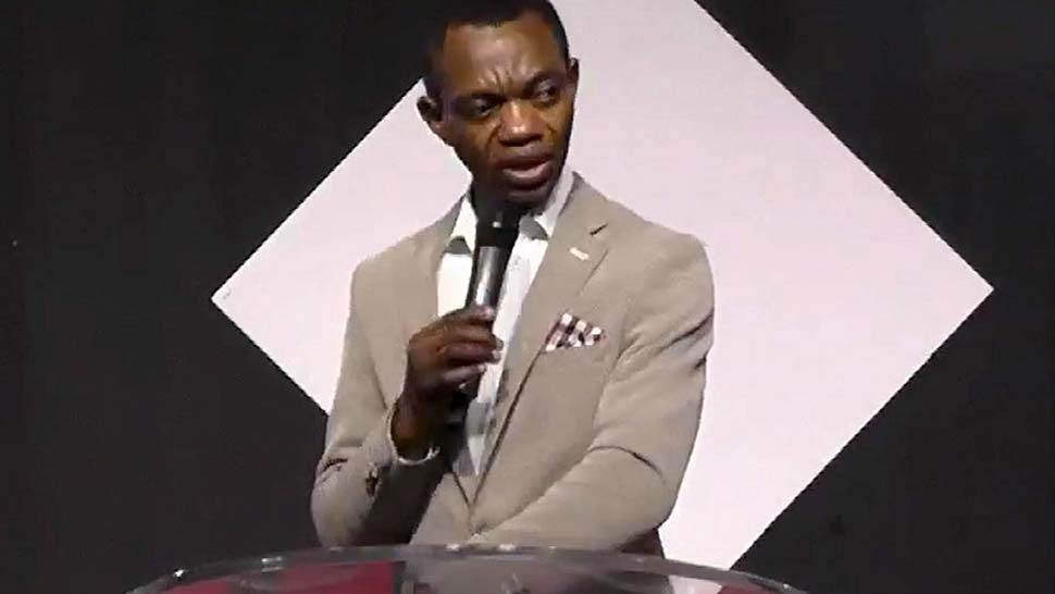 Marvin Osaghae, pastor at the Christ Embassy Church in Blacktown, delivering a sermon 22 Aug night. (Christ Embassy Church)
