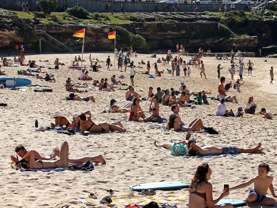 People sunbaking at Bronte Beach. Picture NCA NewsWire Nicholas Eagar