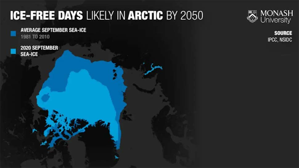 The dark blue area shows what the September sea ice in the Arctic looked like from 1981-2010 according to the National Snow and Ice Data Centre (NSIDC). Now, it looks more like the lighter blue area. Source Monash UniversitySourceSupplied