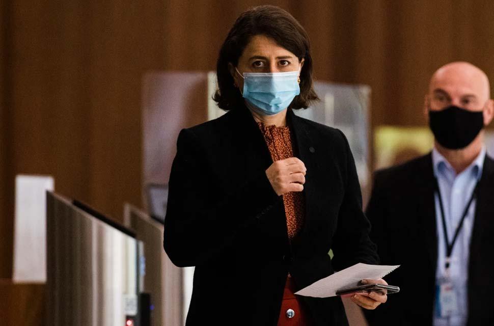 NSW Premier Gladys Berejiklian at her daily press conference on Friday..CREDITJAMES BRICKWOOD