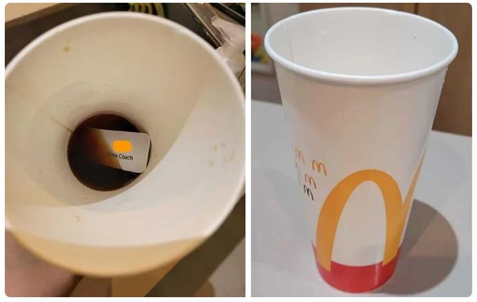 The McDonald's customer couldn't believe her eyes when she found the name tag in her drink. Source Facebook.