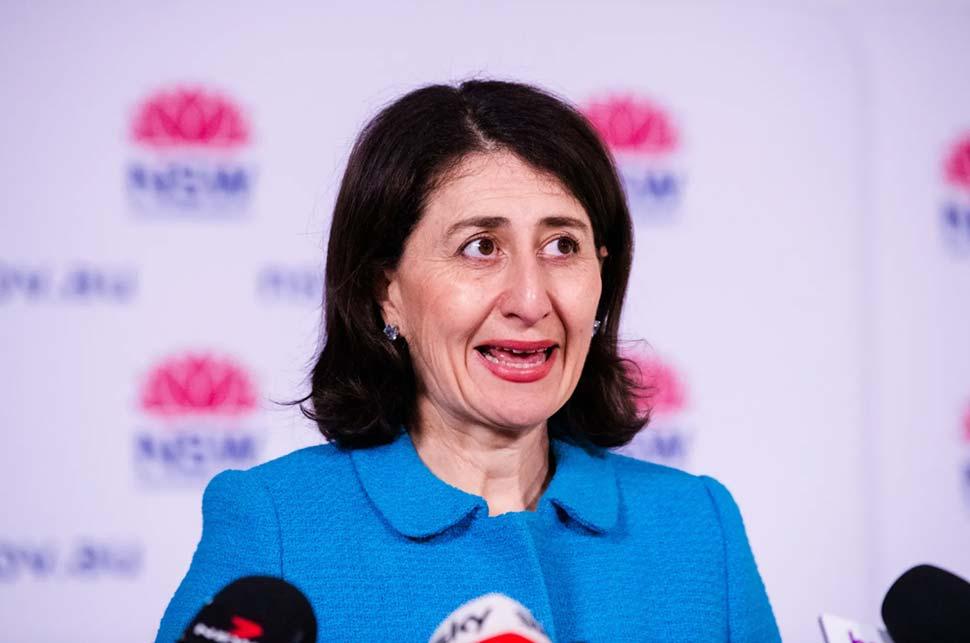 NSW Premier Gladys Berejiklian announcing her state's 80 per cent road map.CREDITJAMES BRICKWOOD