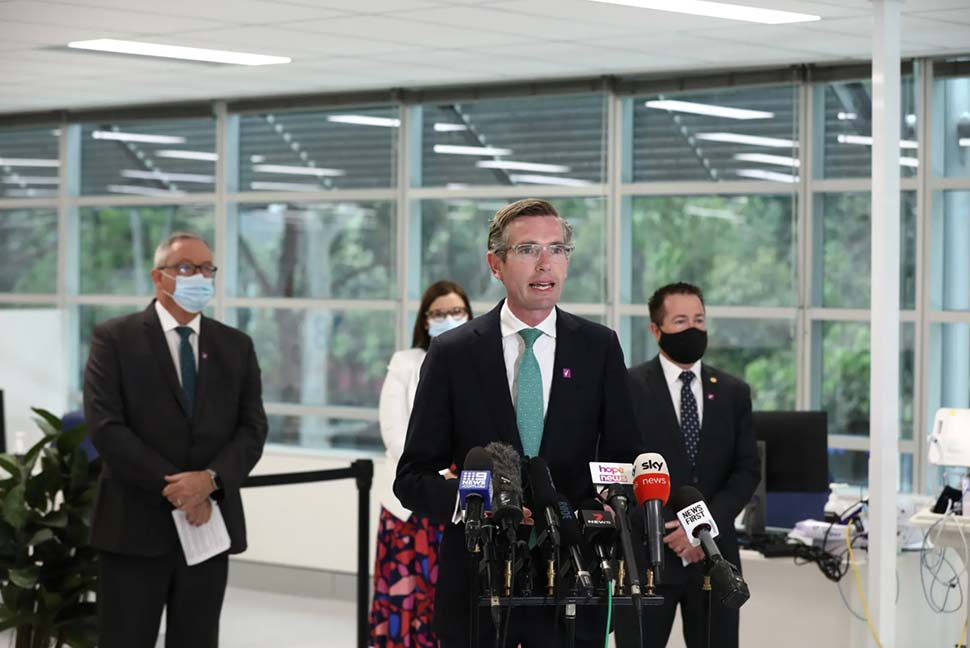 Premier Dominic Perrottet, Deputy Premier Paul Toole, Health Minister Brad Hazzard and Minister for Education Sarah Mitchell announce changes to the COVID-19 reopening roadmap. CREDITDOMINIC LORRIMER